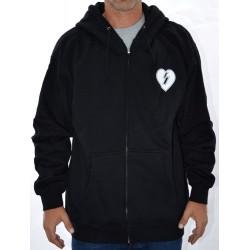 Sweat Hood Zip Mystery Heart - Black