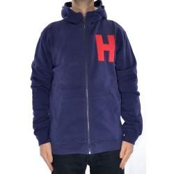 Sweat Hood Zip Huf H Logo 2.0 - Navy