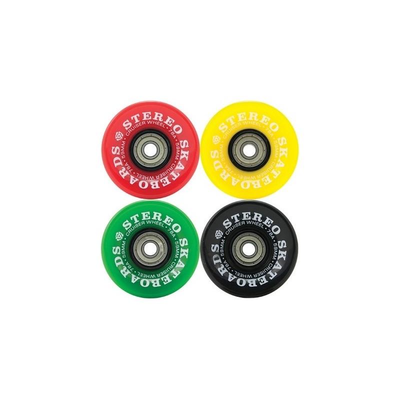 Stereo Vinyl Cruiser Rasta Gumball Wheels 59mm