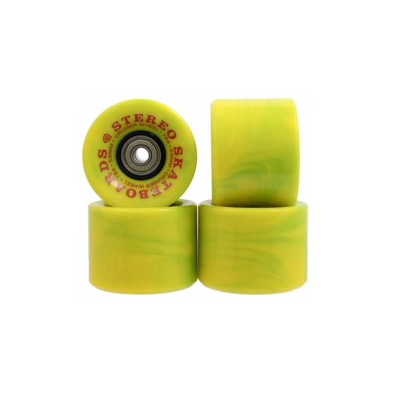Stereo Vinyl Cruiser Green Swirl Wheels 59mm