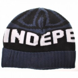Independent Woven Cross Bobble Navy Beanie