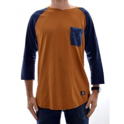 T-Shirt DC 3/4 Raglan Basic Pocket - Brown/Navy